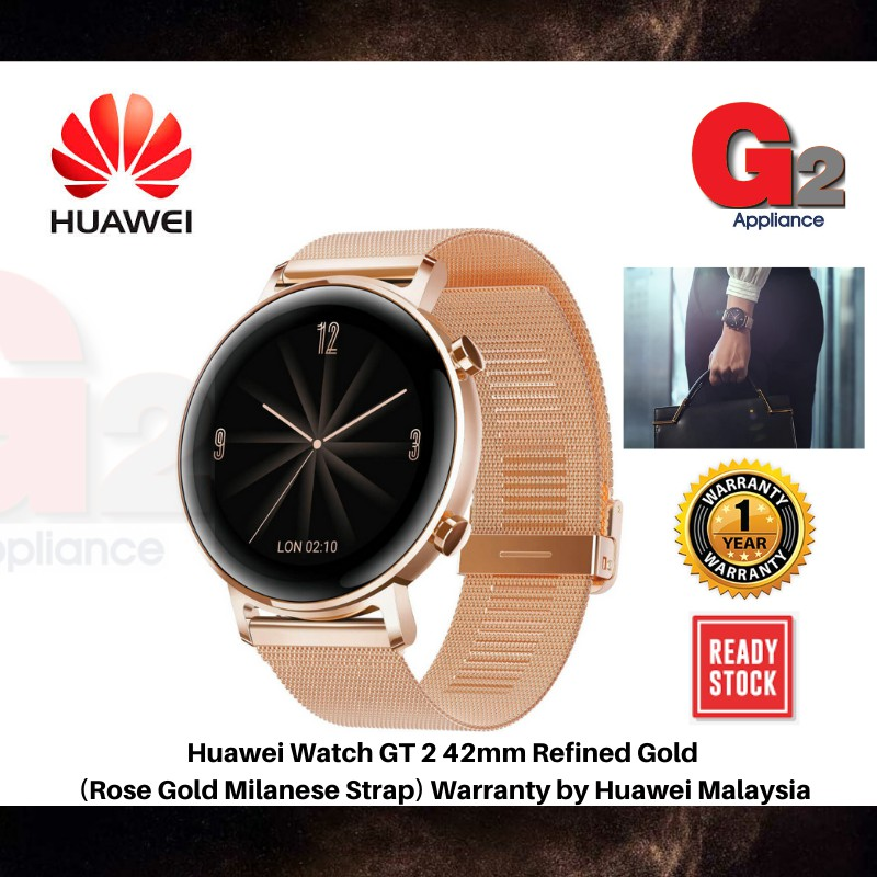 Huawei Watch GT 2 42mm Refined Gold (Rose Gold Milanese Strap) Warranty by Huawei Malaysia [Ready Stock]