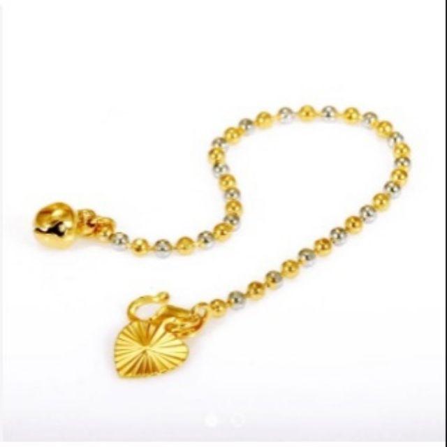 Rantai Tangan & Gelang Kaki Kanak-kanak/Dewasa Emas Korea, 24k Gold Plated   Shopee Malaysia