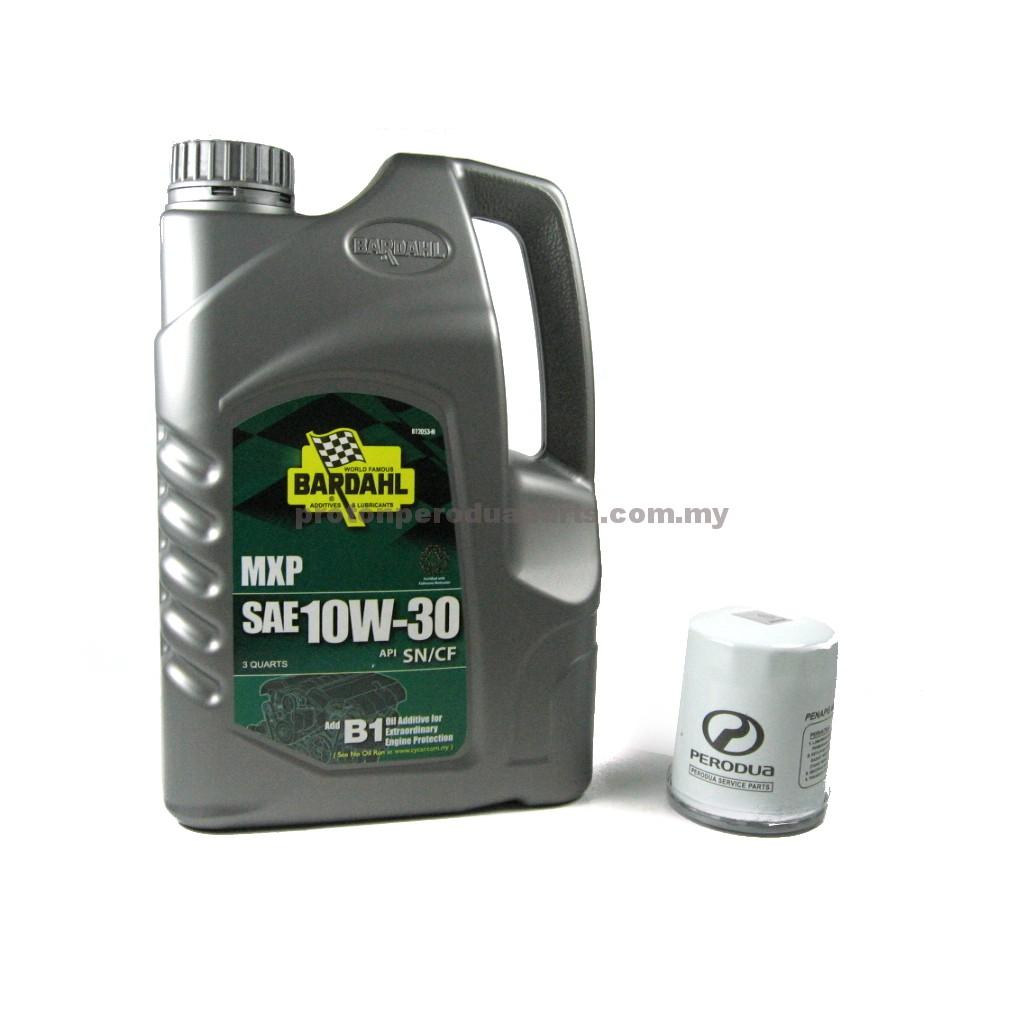 Bardahl 10W30 Engine Oil 3 Quarts Minyak Enjin 10 30 + Oil Filter for  Perodua Cars