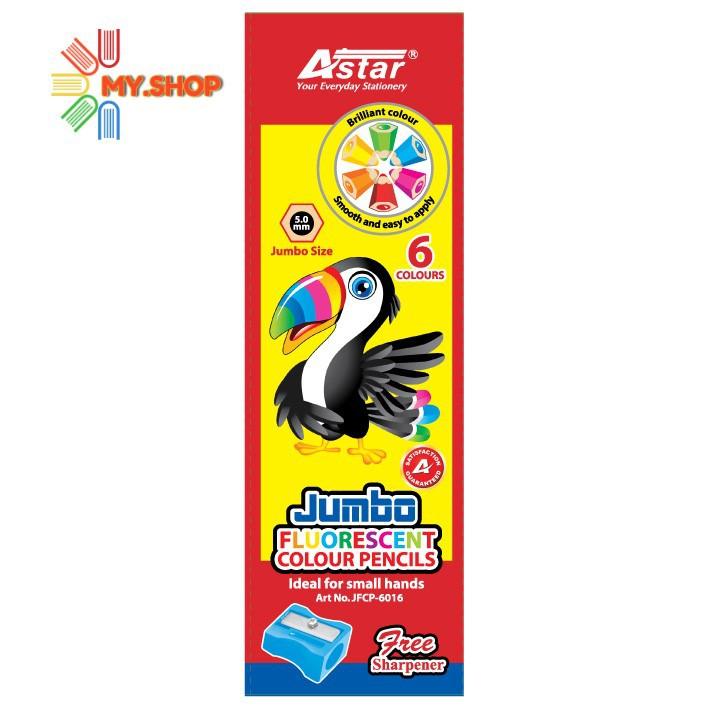 Astar Jumbo Fluorescent Colour Pencil JFCP-6016 (6pcs) 5.0mm  + sharpener