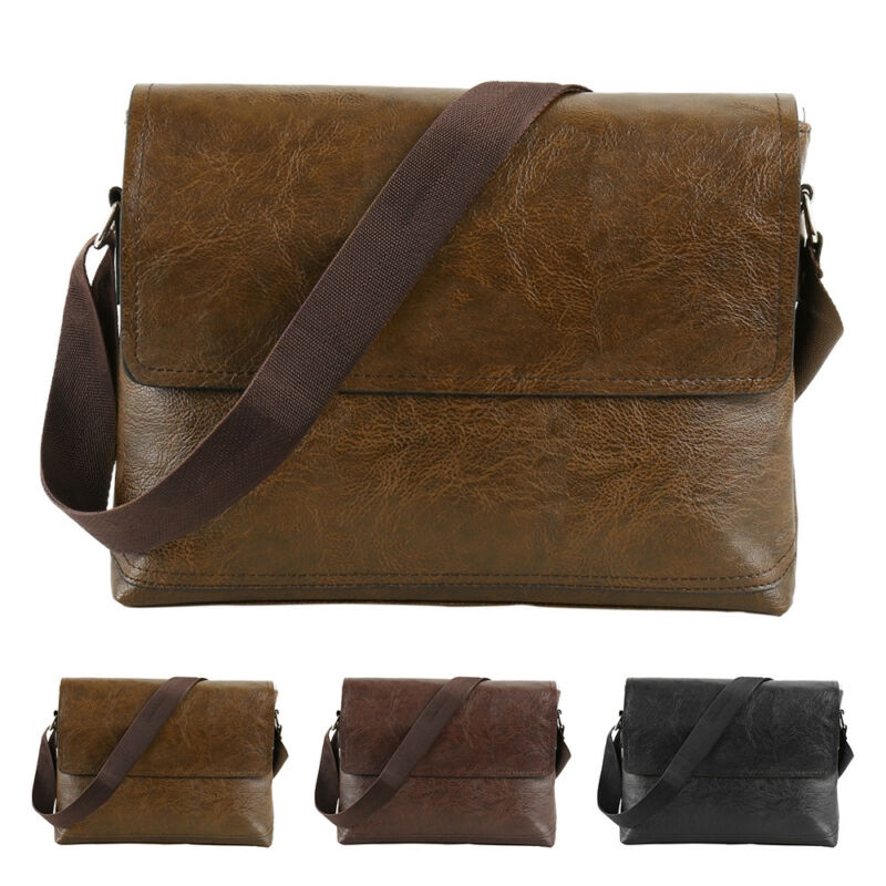 Mens leather cross section Square Shoulder business Messenger briefcase