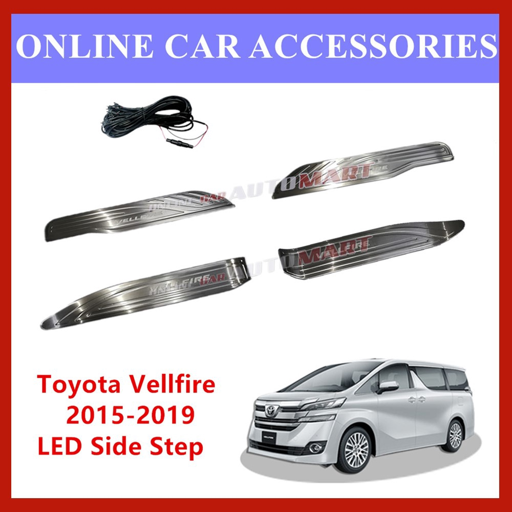Toyota Velfire 2015-2019 Side Steel Plate /Door Side Step/ SIDE SILL Plate With Led (Blue)