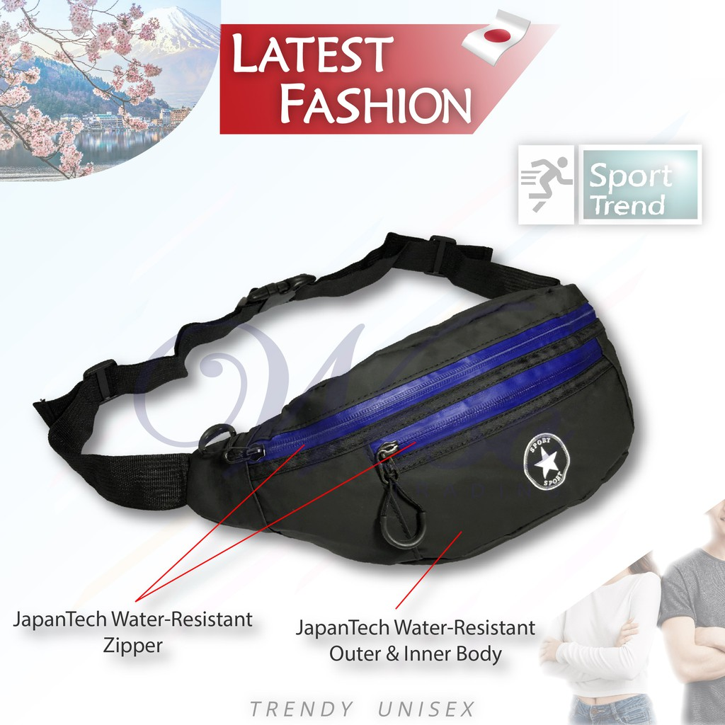 Japanese Sport 100% Water Resistant Large Waist Pouch / Chest Bag (Blue)