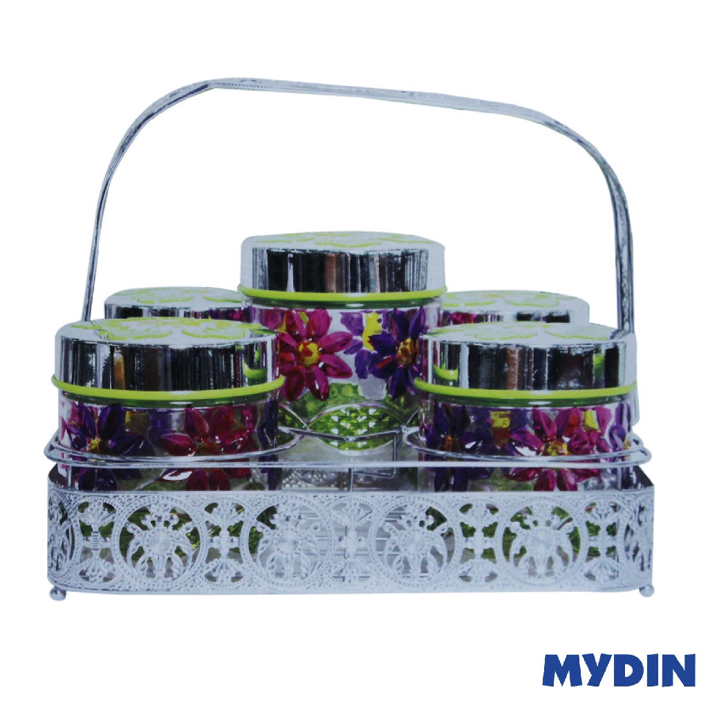 My Home Glass Canister Set 6Pcs Flower M-6S-FWR #Raya