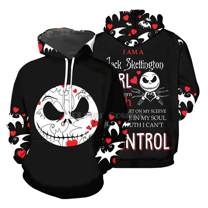 Nightmare Before Christmas Jack Skellington Youth Boys Girls 3D Print Pullover Hoodies Hooded Seatshirts Sweaters