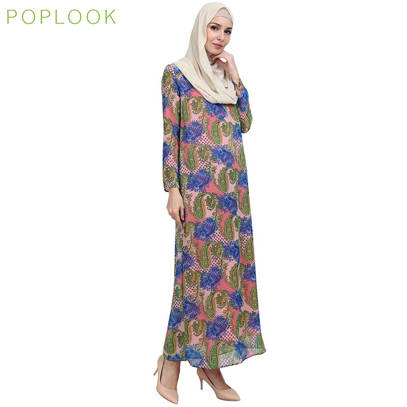 b6a5361e28f POPLOOK Raveena Zip-Front Maxi Dress - Light Blue Orange