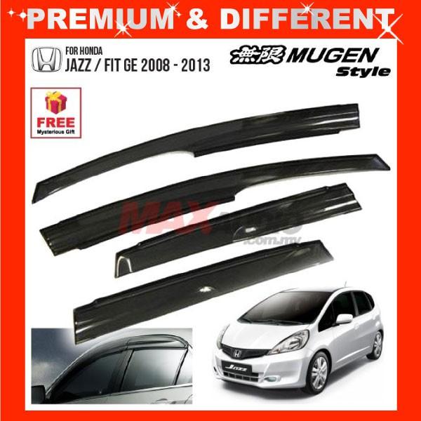 [FREE Gift] HONDA JAZZ GE 2008 - 2013 MUGEN STYLE Smoke Black Rain Guard Acrylic Window Door Visor (4pcs/Set)