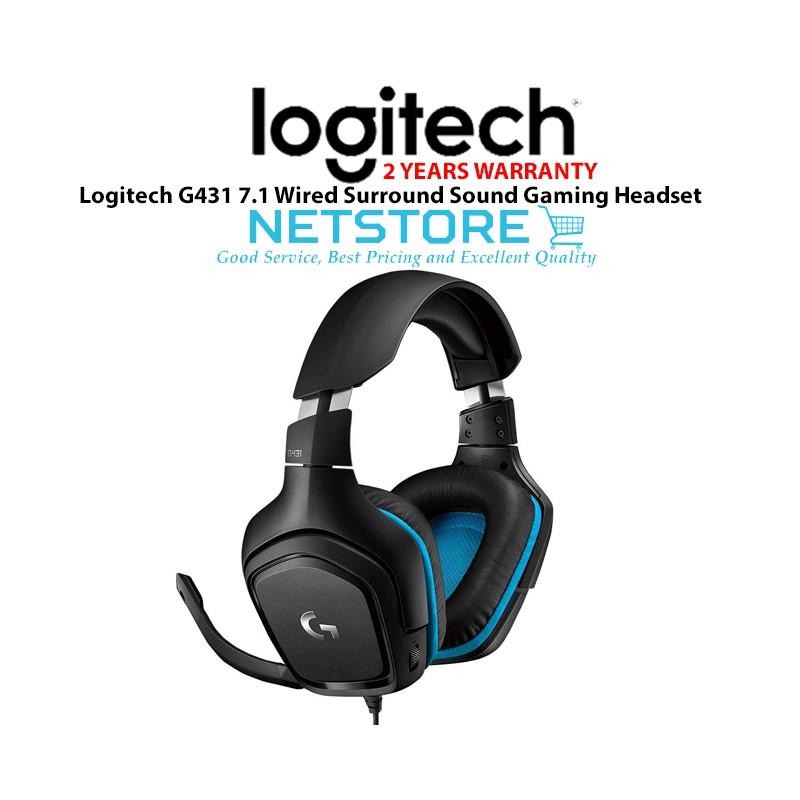 LOGITECH G431 7 1 Wired Surround Sound Gaming Headset - DTS HEADPHONE:X 2 0