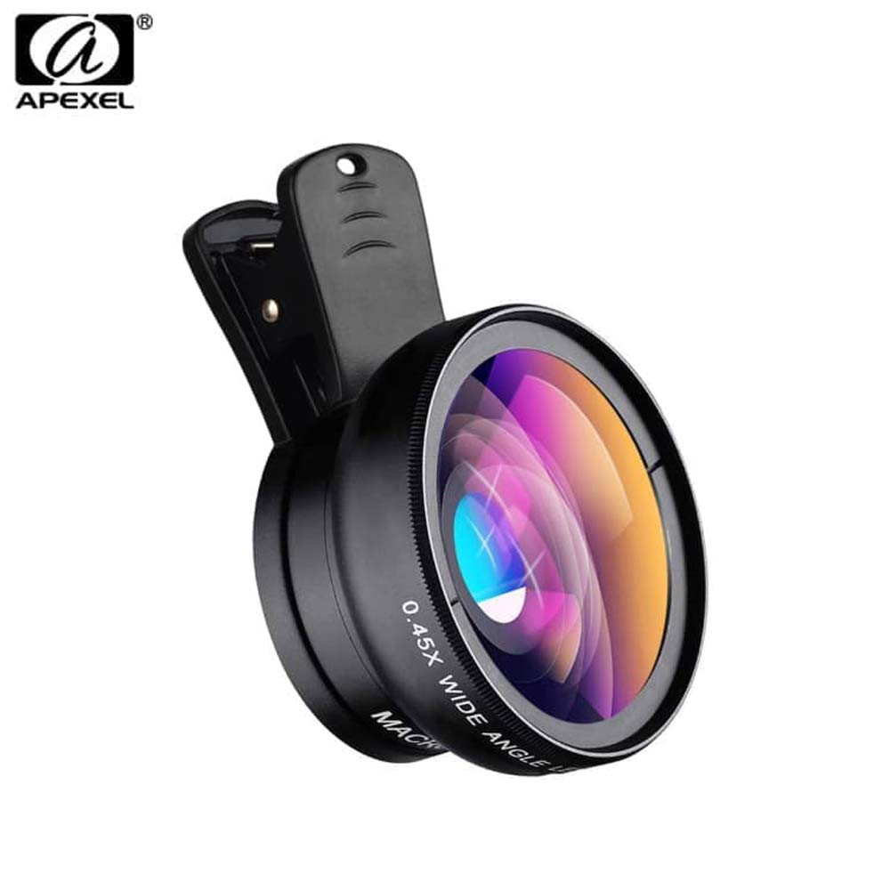 Apexel 0.45X Super Wide Angle 12.5x Super Macro HD Lens for mobile phone