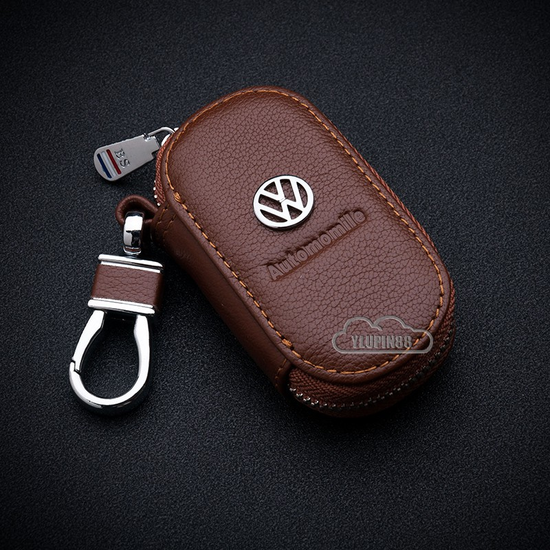 Leather Key Case Remote Holder Cover Zipper Wallet for Volkswagen VW Key Model
