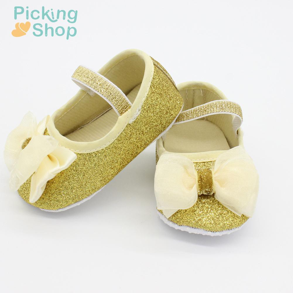 Newborn Baby Girl Sequins Bowknot Toddler First Walkers Kid Shoes+Hairband PSG