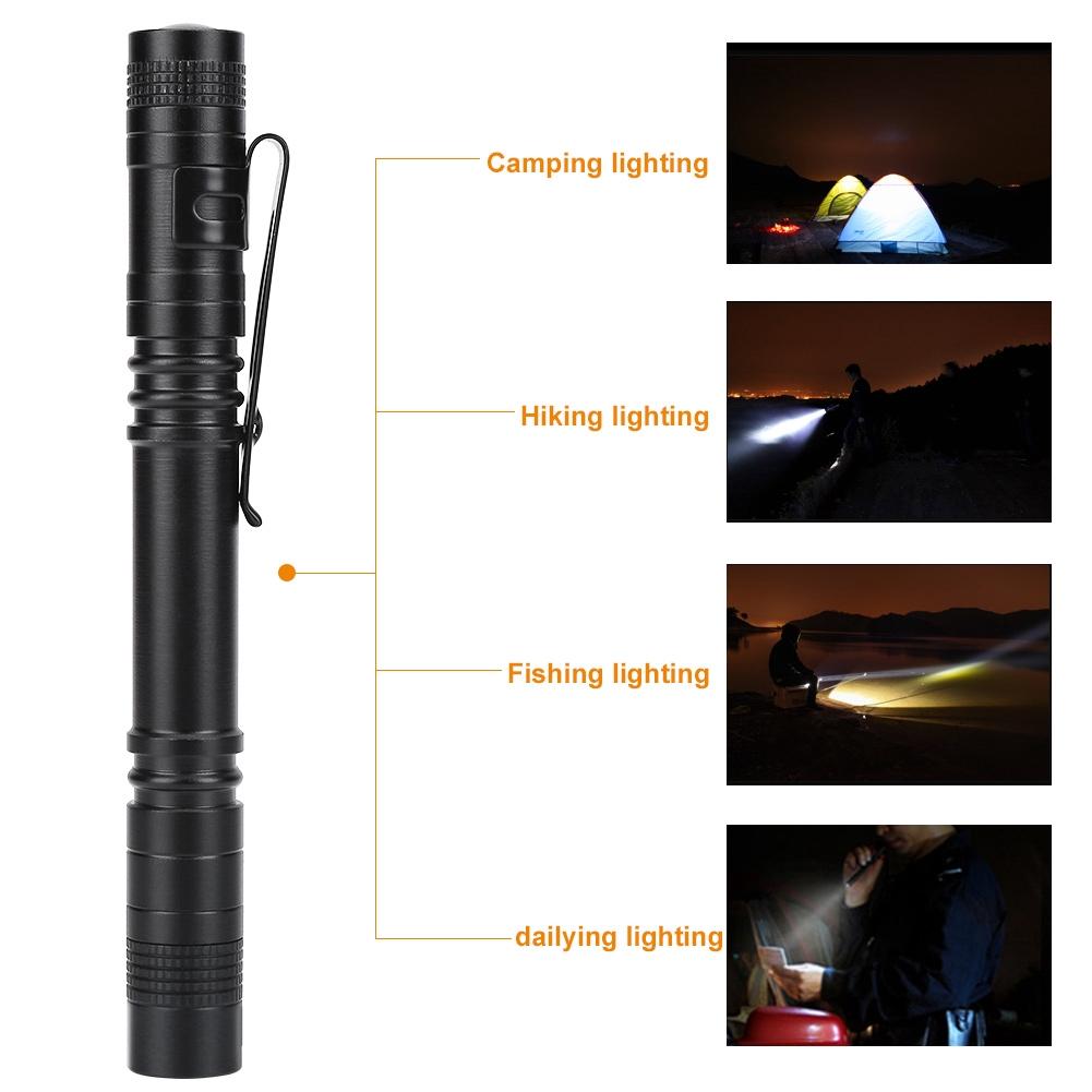 1pc Mini Pocket LED Flashlight Torch Bright Torch Lamp Pen Light With Clip  t