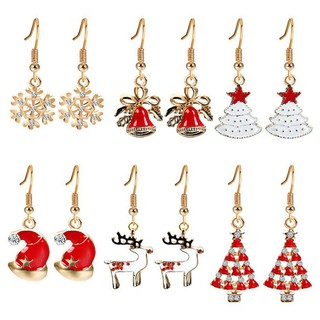 ecfdd2601e3ca Christmas earrings alloy gold-plated wreath snowflake bell tree ...