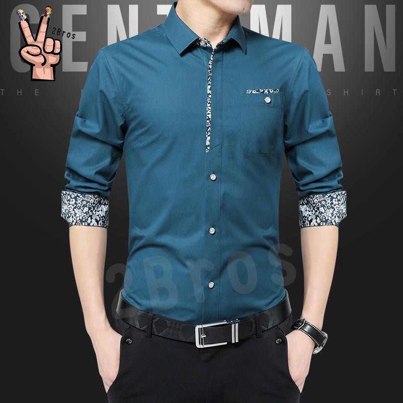 6 Colors Men's Summer Floral Casual Shirt Long Sleeve Business Slim Fit men Korean Kemeja bunga blouse Plus size 2Bros