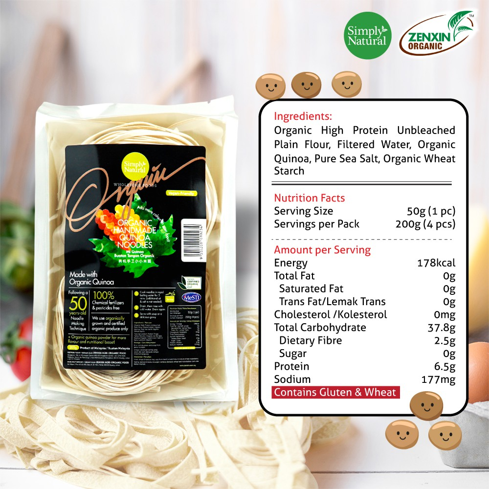 Simply Natural : Zenxin Quinoa Flavour Noodle | 4 serving, 200g | High in Protein | Natural ingredients