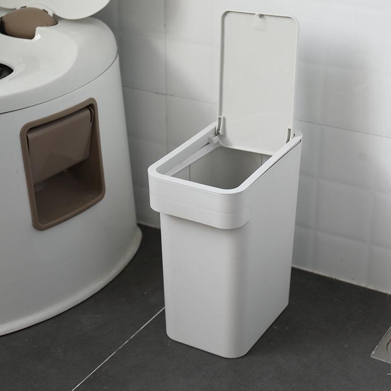 Creative swing square trash home bathroom large kitchen living room cover free pedal trash Color : Beige