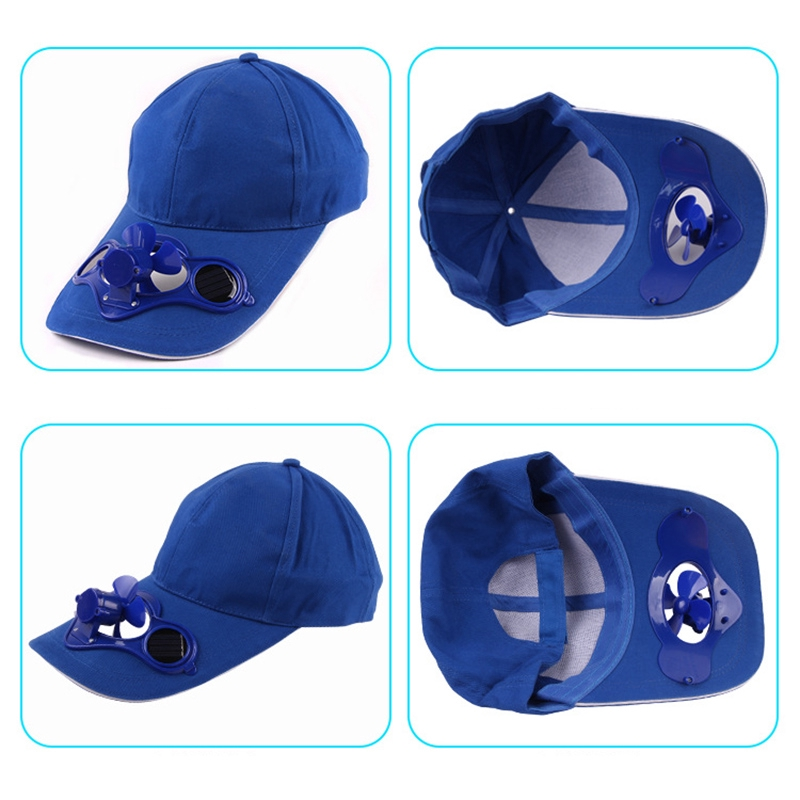 ceb570591 Peaked Cap Baseball Hat UV Protection with Solar Powered Cooling Fan Sport  Cap