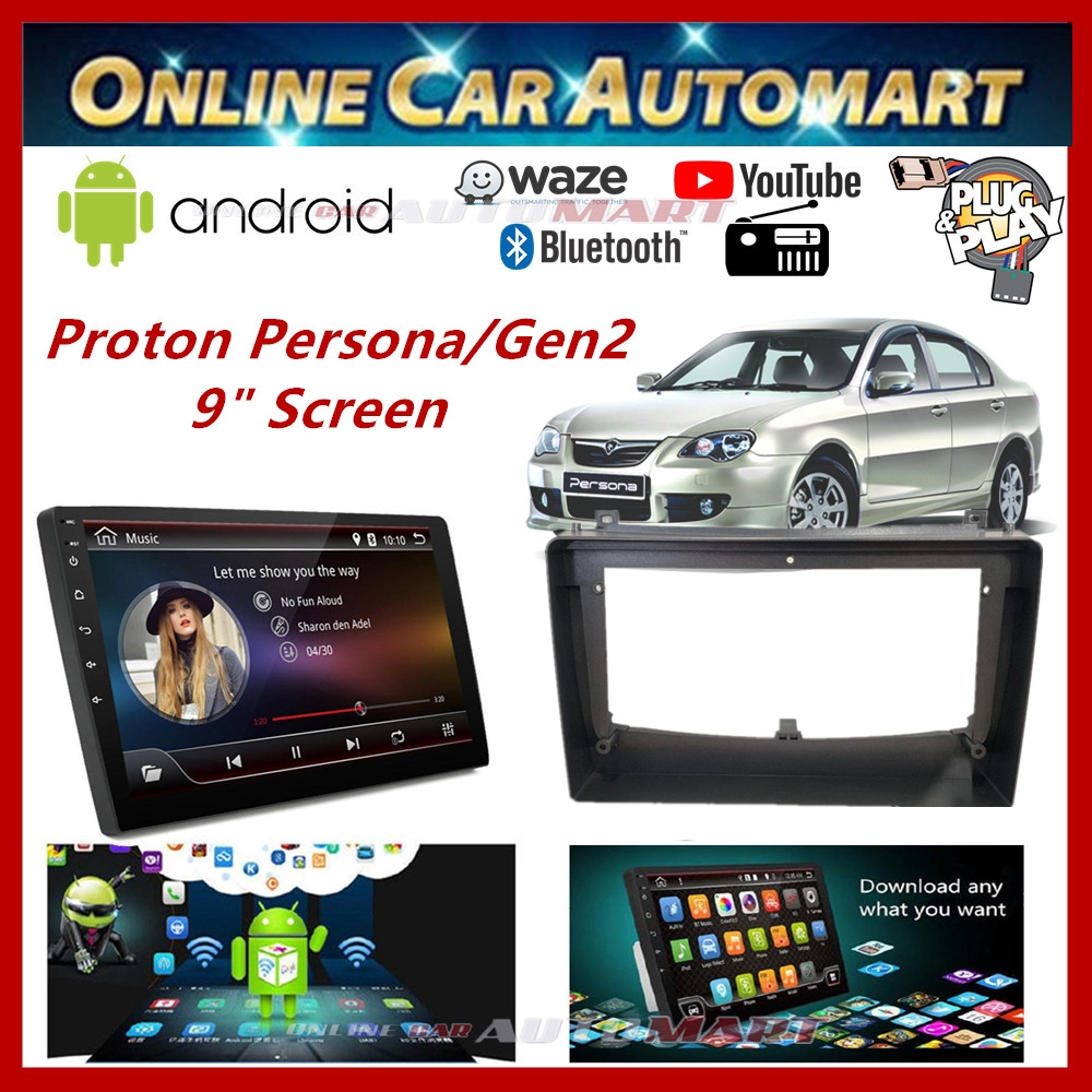 """Proton Gen 2 / Persona 9"""" Big Screen Plug and Play OEM 16GB Android Player Car Stereo With WIFI Video Player/TouchScreen"""