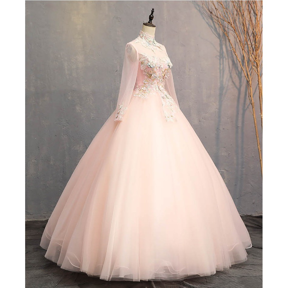 BEAUNIQUE Luxury Pastel Colour Tulle High Neck Baby Pink Muslimah Baju  Pengantin