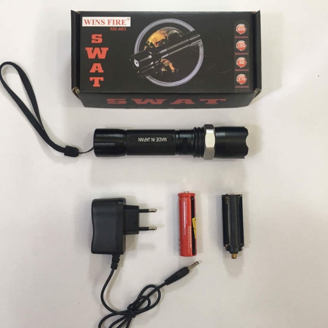 Multifunction SWAT Zoom Flashlight Torch light Lampu Suluh Rechargeable Zoom.