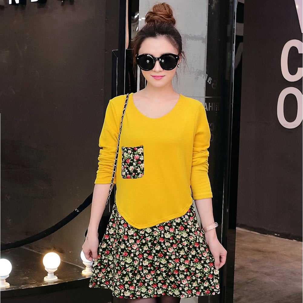 Fashion Women Jersey Dress Floral Print Pullover Fake Two Piece Long Sleeve Round Neck Stretchy Knit Dress (Yellow)