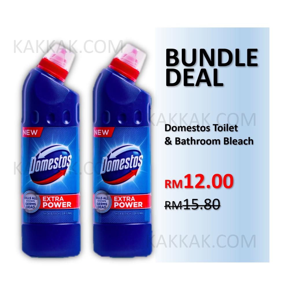 [BUNDLE DEAL] DOMESTOS Toilet & Bathroom Bleach Cleaner Liquid Toilet Bowl Cleaning 500ml x2 bottles (CLASSIC ORIGINAL)