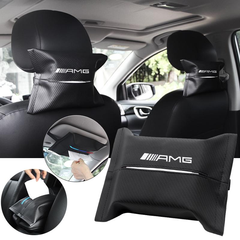 for Mercedes Benz Logo Car PU Leather Tissue Case Napkin Holder for Visor /& Backseat,for Mercedes Benz(Black)