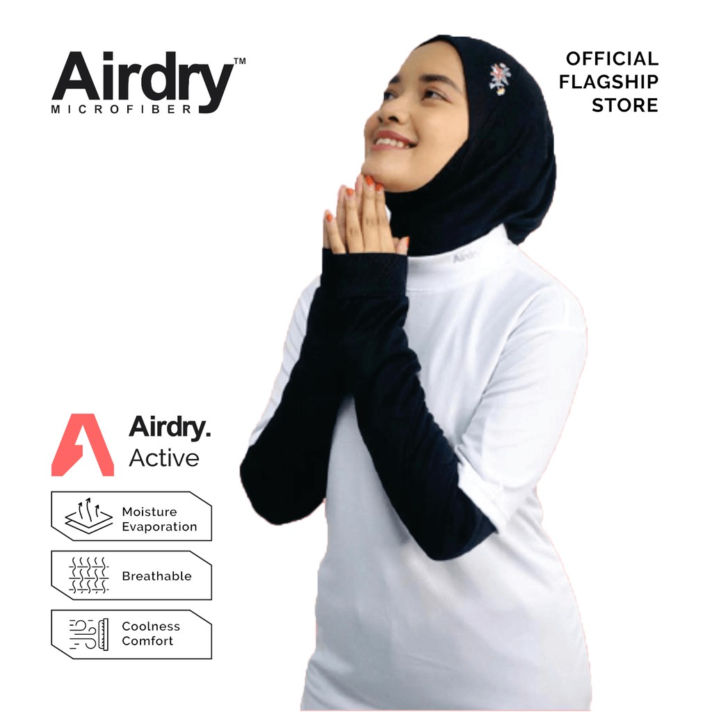 Airdry Microfiber Sport Hijab (Black) BSH12