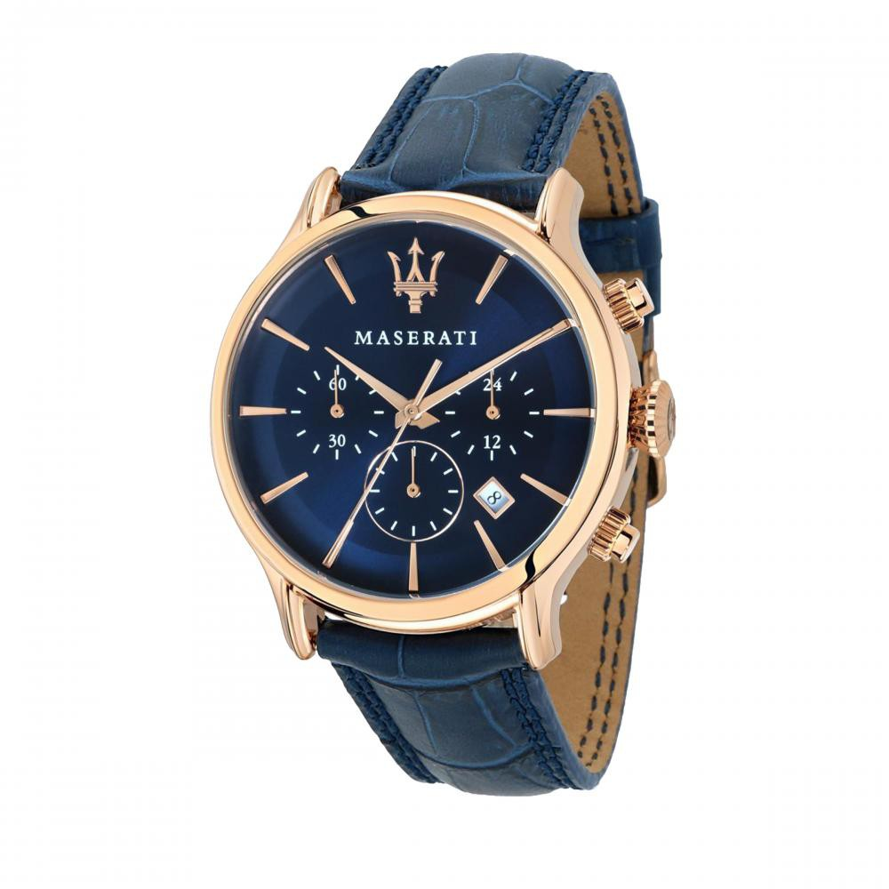 Maserati Epoca Blue Leather Watches Quartz Chronograph R8871618007