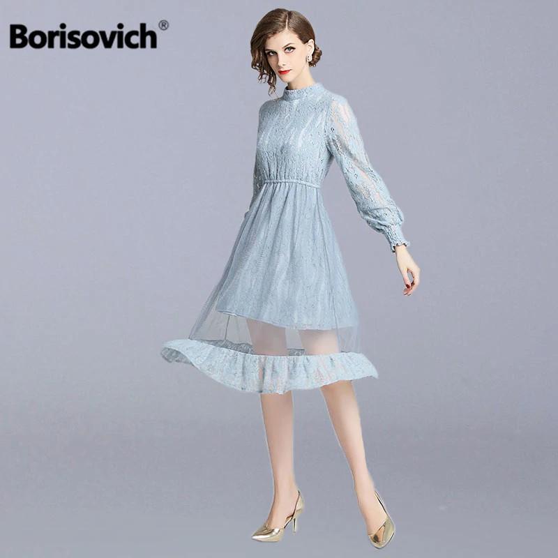 0d8f1503a2ae8 Borisovich Women Casual Lace Long Dress New 2018 Autumn Fashion England  Style