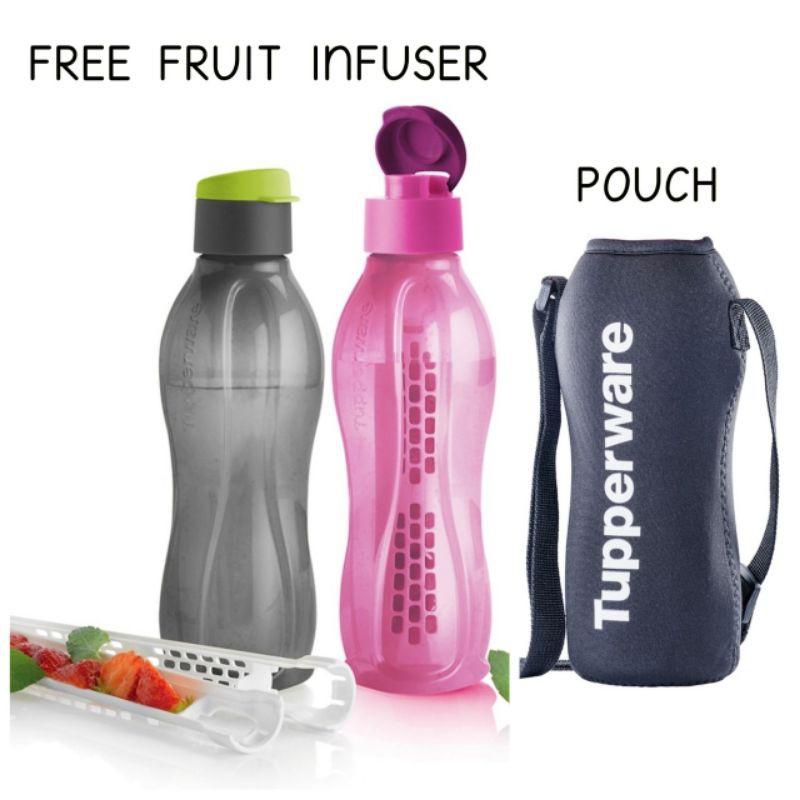 TUPPERWARE ECO BOTTLE 750ml WITH FRUIT INFUSER / BOTOL AIR TUPPERWARE POUCH/ BOTOL AIR BPA FREE / BPA FREE WATER BOTTLE