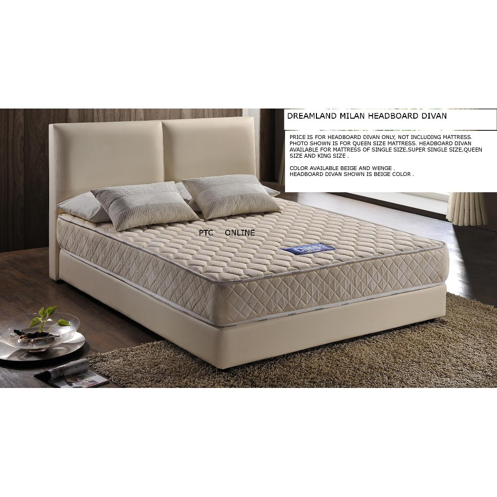 Dreamland Milan Headboard Divan Single Size Bed Frame No Mattress