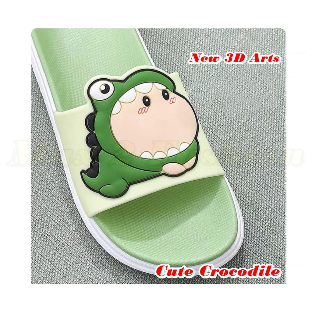 {Ready Stock}Ladies House Slipper New 3D Cute Crocodile Non-Slip Rubber Casual Slipper