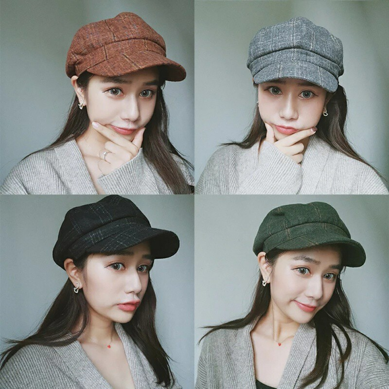8342ce311 New Spring Korean Vintage England Octagonal Hat Women painter Plaid Hat