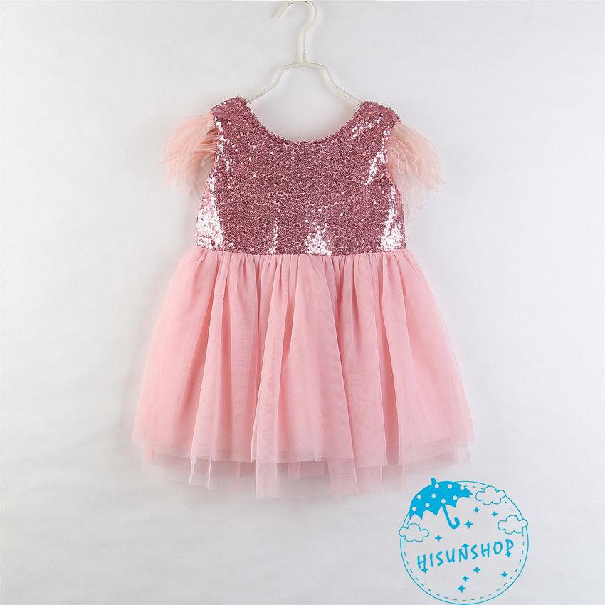 678e21a303 IN.-Kids Baby Girls Fly Sleeve V-Back Sequin Party Dresses Toddler Princess