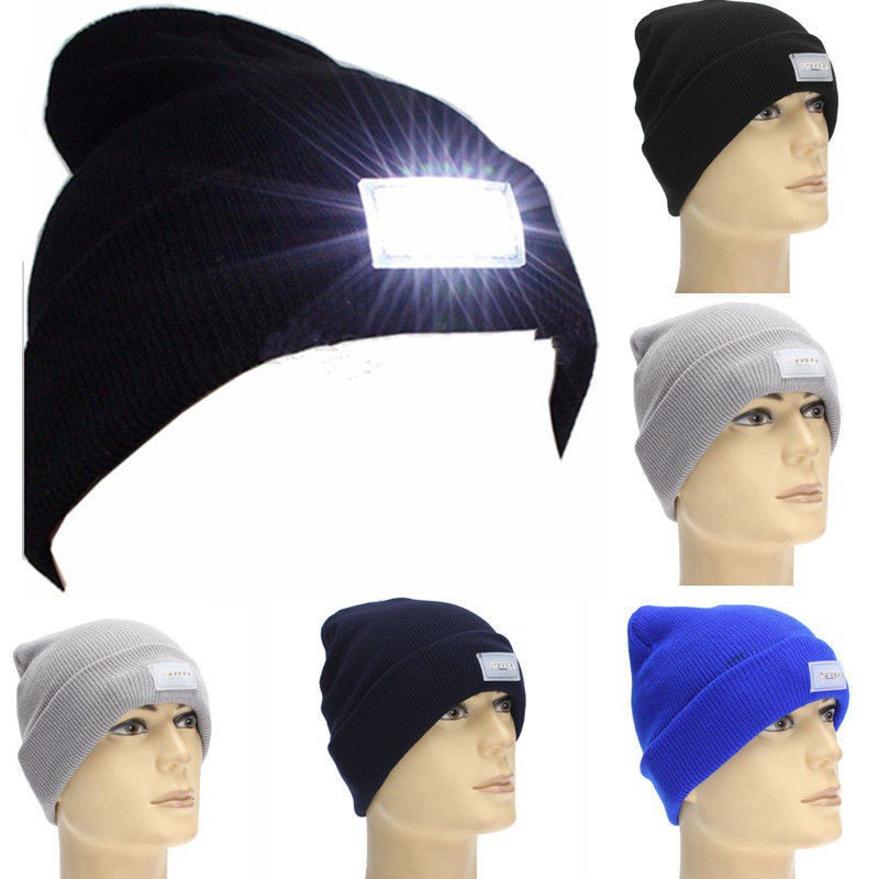 5-LED Light Cap Beanie Winter Warm Hat for Mens Hunting Camping Running Fishing