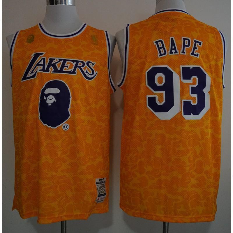 reputable site 0f30d d3739 NBA jersey Bape x lakers retro jerseys