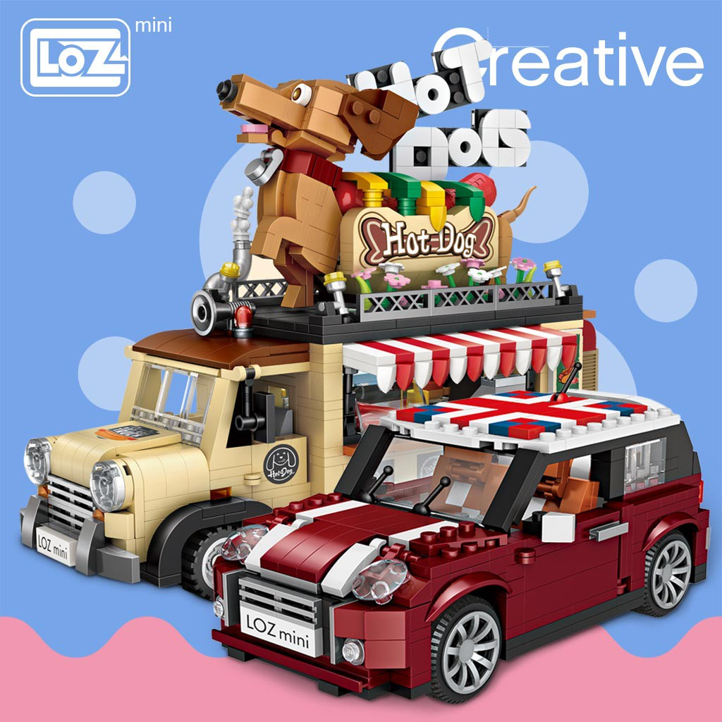LOZ 1112 Ice Cream Car Model MINI Building Blocks Kids Toys Girls DIY Puzzle