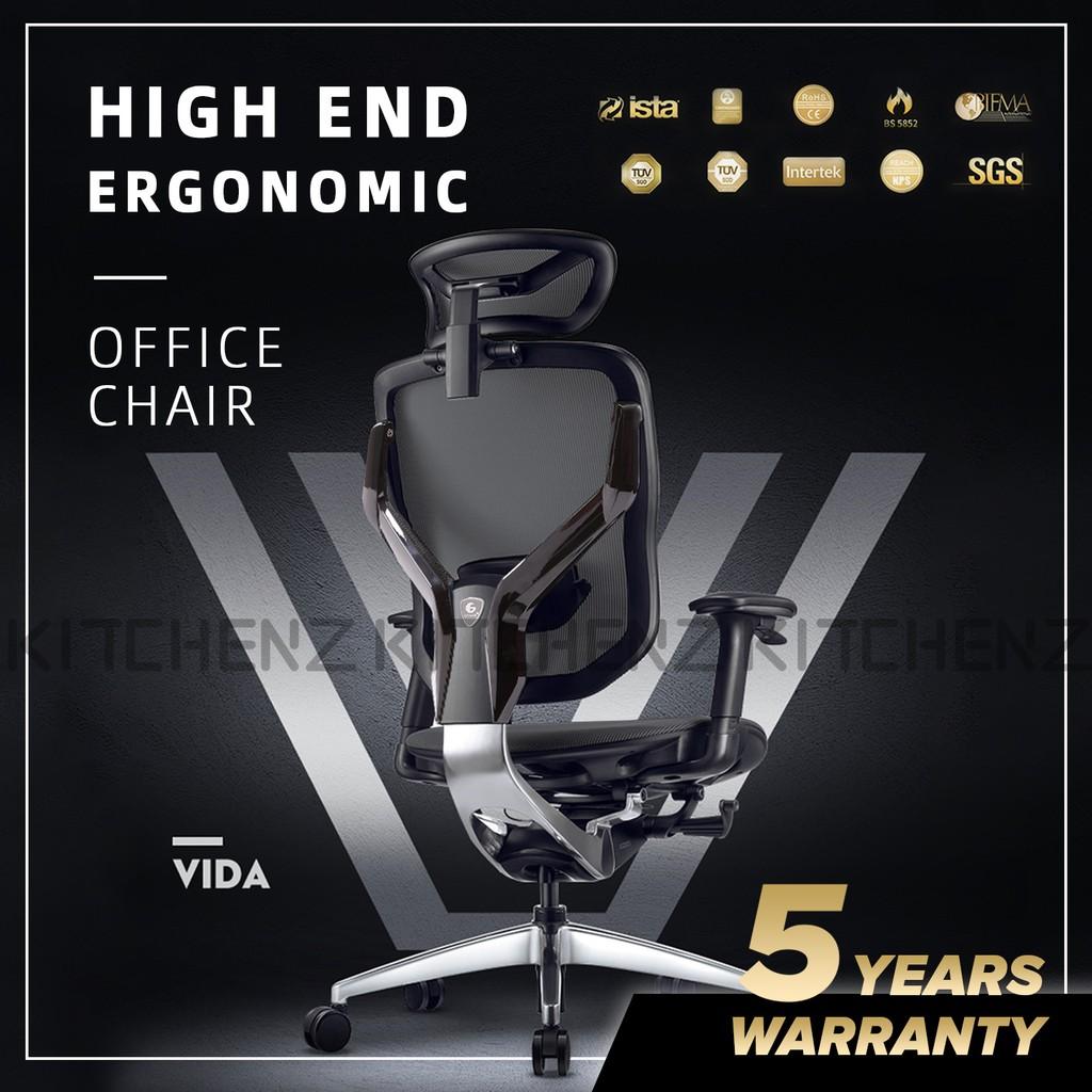 (FREE SHIPPING) GTChair VIDA-V7-X / Y Frame Ergonomic Office Chair / Boss Chair / Gaming Chair / Mesh  - GTC-GC-V7X-BK