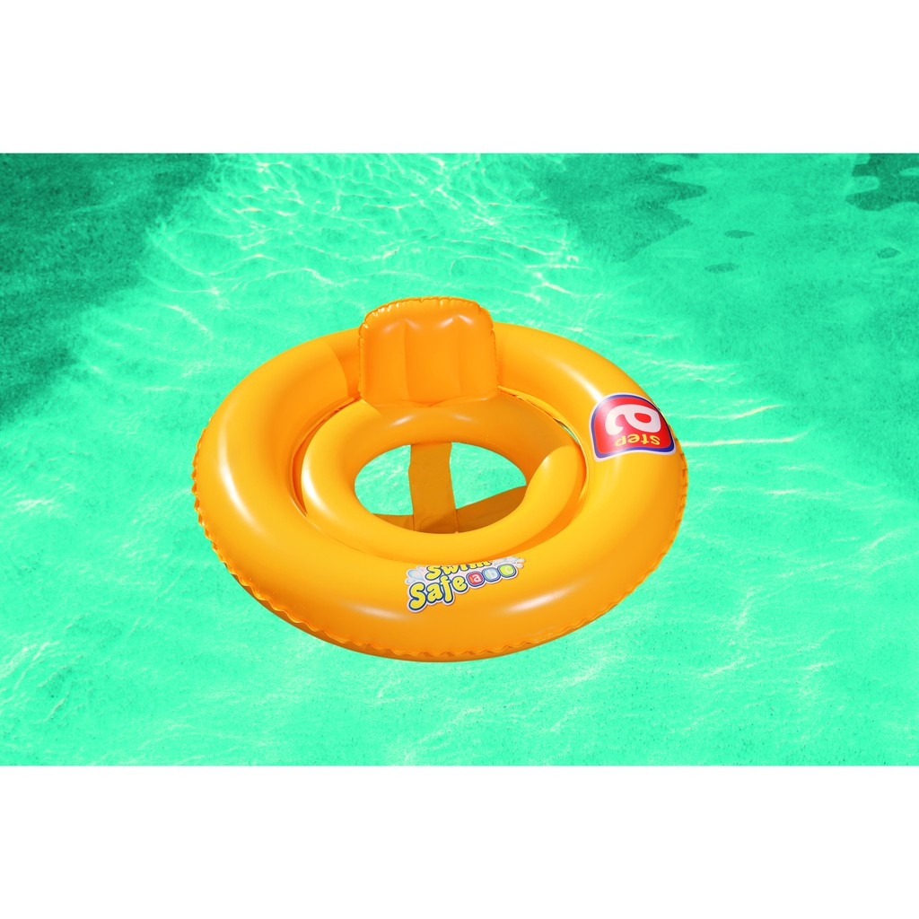 "BESTWAY INFLATABLE DOUBLE-RING BABY SEAT STEP A SWIM RING SAFETY SALVE AND SWIM SUPPORTER 69CM (27"") 32027"