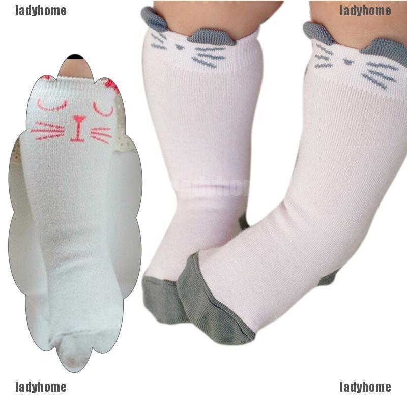 1 Pair Newborn Toddler Knee High Sock Baby Boy Girl Socks Anti Slip Cute Cat SE