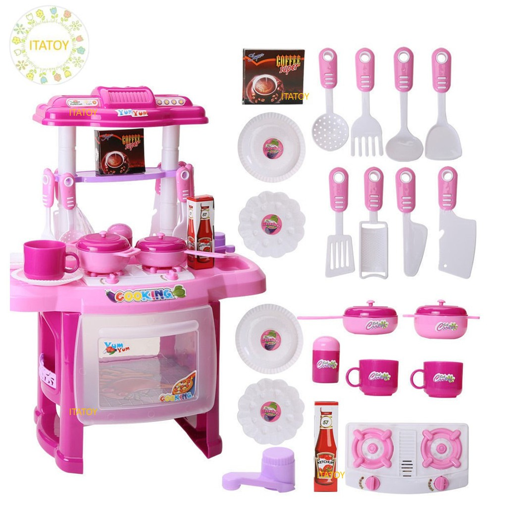 Big Size Kitchen Set With Music And Light For Kids Toy Cooking