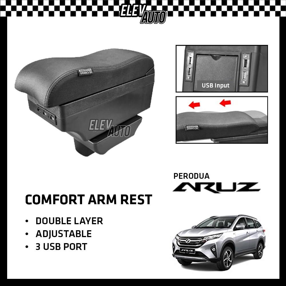 Perodua Aruz Premium Leather Arm Rest ArmRest Double Layer Adjustable (7 USB)