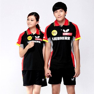 Butterfly PingPong T Shirt Table Tennis badminton Quick Dry Sport Shirt  Black
