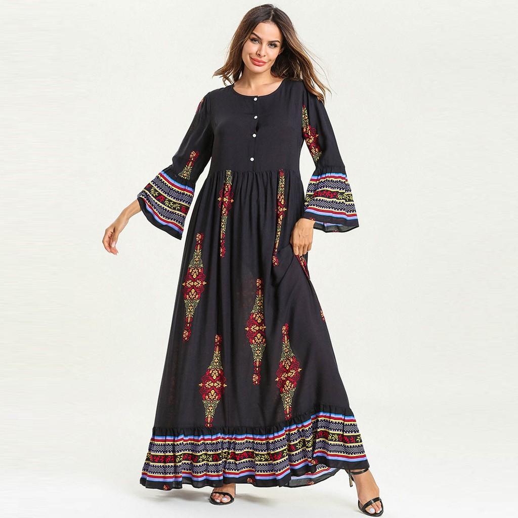 886fec5c35 Women Muslim Floral Print Long Maxi Dress Abaya Jilbab Dubai Kaftan ...
