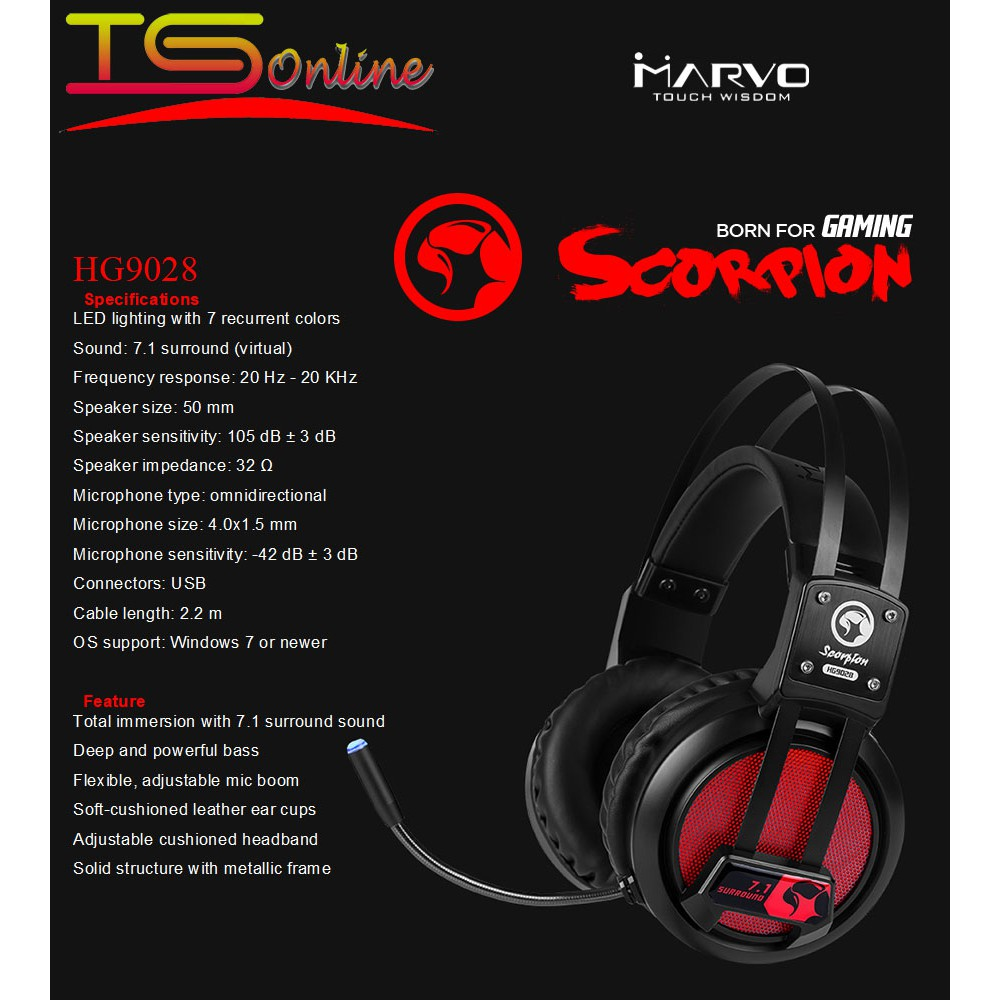 Marvo HG9028 7 1 SURROUND GAMING HEADSET