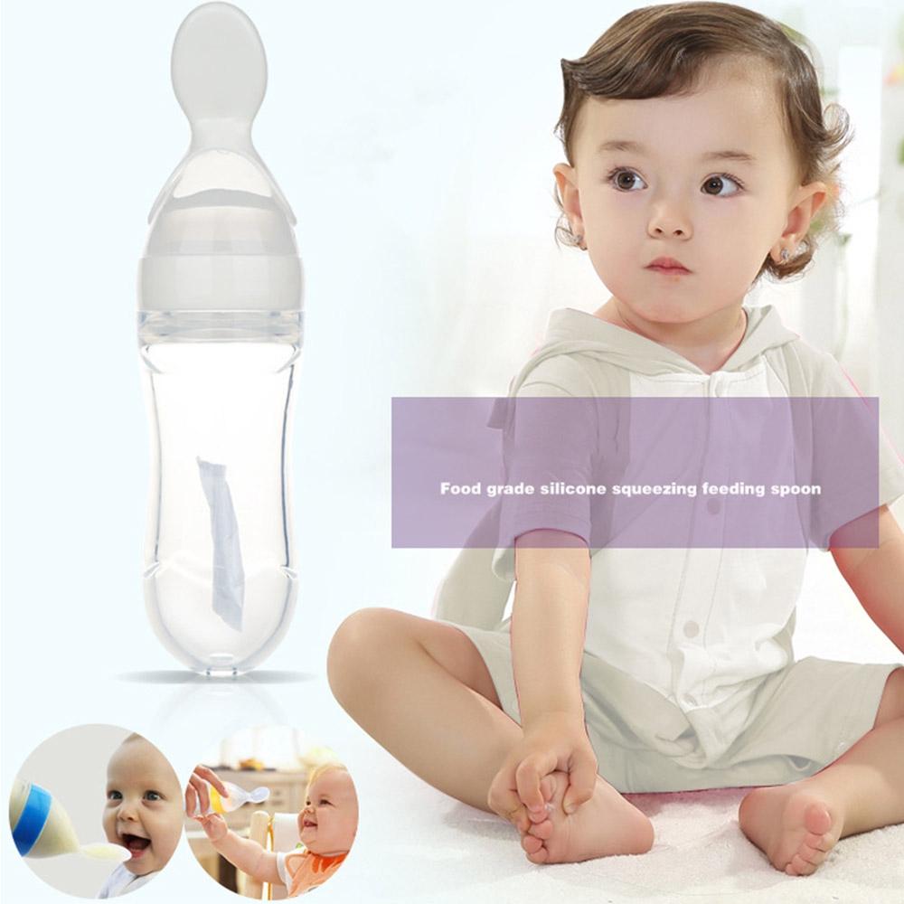 Baby Silicone Feeding Spoon Safety Infant Learning Feeding Teething Toys GIFT