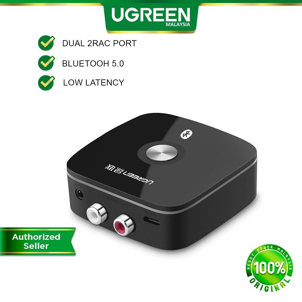 UGREEN Bluetooth Receiver 5.0 aptX Audio Music RCA 3.5mm Jack Aux Wireless Adapter Music for TV Car Laptop iPhone Tablet