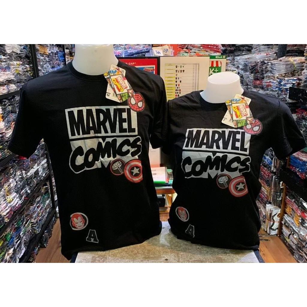 เสื้อยืด มาร์เวล MARVEL ลิขสิทธิ์แท้ สีดำลายเ