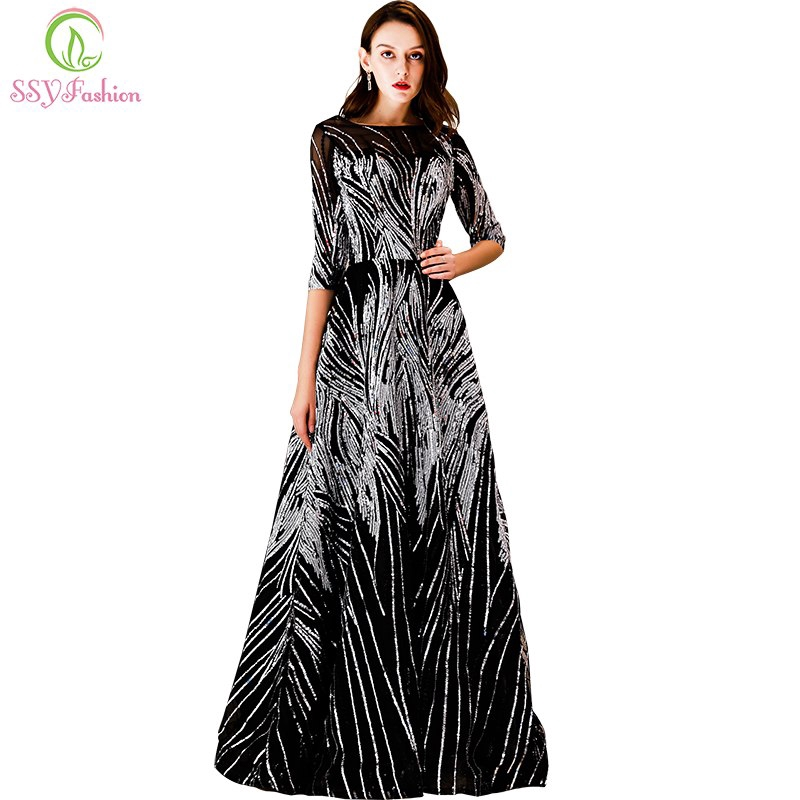 cf516331a6650 New Luxury Sequins Long Evening Dress Black Half Sleeve Wedding Party Prom  Gown
